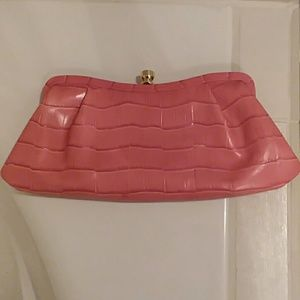 pink leather Banana Republic clutch